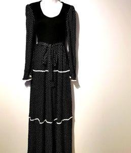 Vintage algo ettes black long sleeve maxi dress